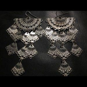 Vintage Sterling Silver Long Earrings